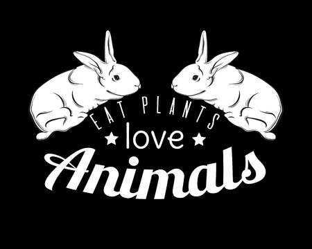 Eat plants love animals. Quote typographical background for vegan. Hand drawn illustration of cute rabbit. Template for card, poster, banner, print for t-shirt. Illustration