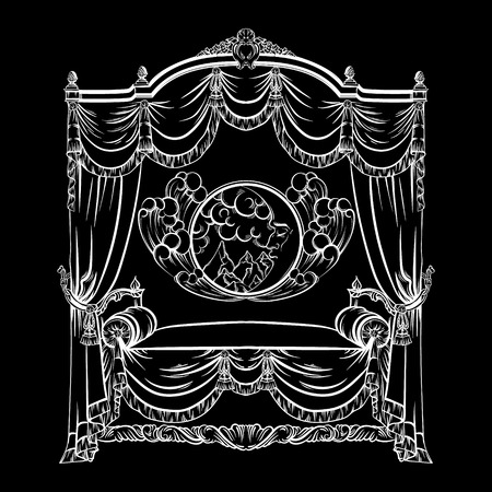 Vector illustration of baroque bed with baldachin and moon with face and clouds made in hand drawn sketch style. Beautiful furniture design. Template for business car, poster, banner, print, placard. Ilustração