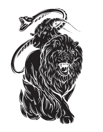 Vector illustration of chimera made in hand drawn style. Mythological magic religion victorian motif. Heraldry and logo concept art. Template for card poster banner print for t-shirt.