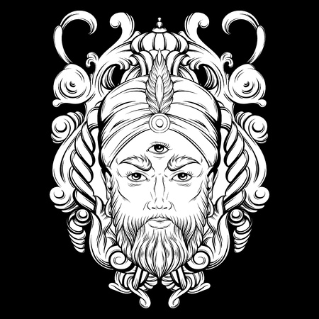 Vector hand drawn illustration of fortune teller with three eyes. Hand sketched creative artwork with baroque and floral motives. Template for card poster, banner, print for t-shirt. Tattoo art.