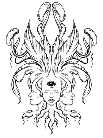 Vector illustration of fortune teller  with three heads, eyes. Floral surreal artwork made in hand drawn line style. Template for card, poster. Illustration