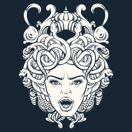 Vector illustration of gorgone with baroque frame made in hand drawn style. Character design.  Tattoo and mythological art. Template for card, poster, banner, print for t-shirt.
