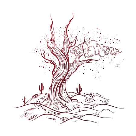 Vector hand sketched  illustration of  deserted landscape with dead tree.  Realistic artwork made in hand drawn style. Template for card ,poster , banner, print for t-shirt.
