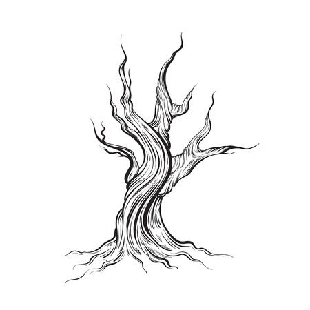 Illustration vectorielle d'arbre mort fabriqué à la main. Ligne dessinée à la main. Modèle pour carte, affiche, imprimé pour t-shirt. Vecteurs