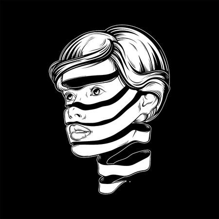 Vector Illustration mit Porträt des jungen hübschen Mädchens mit Gesicht des Bandes. Grafische Noir-Grafik. Charakter-Design. Schablone für Karte, Plakat, Fahne, Druck für T-Shirt.