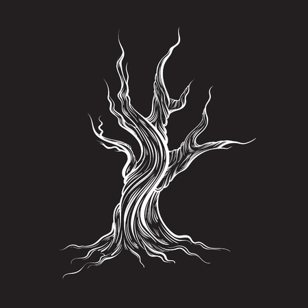 sketched shapes: Vector illustration of dead tree made in hand drawn style. Line hand sketched  artwork. Template for card, poster banner, print for t-shirt.