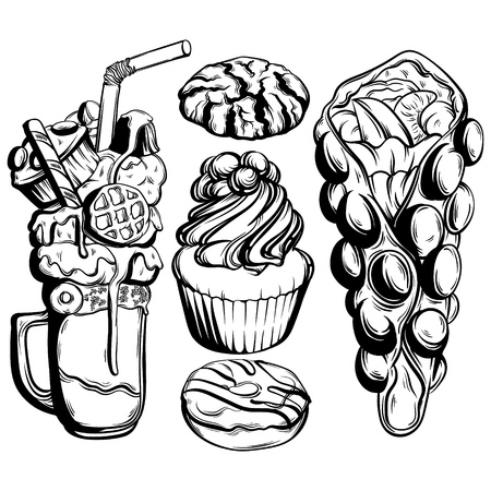 Vector set of sweet food with illustration of milkshake, cupcake, cookie, donut, waffle made in hand drawn style. Hand sketched template for business card poster banner print