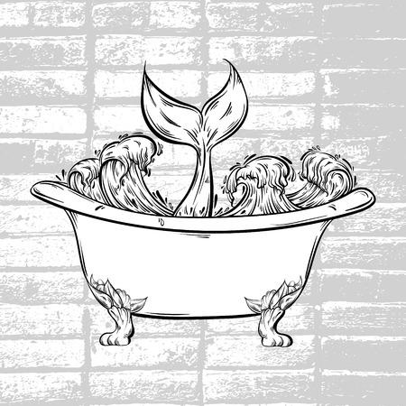 Vector hand getrokken illustratie van bad met oceaangolven en verhaal van vissen. Creatief surreal kunstwerk. Tattoo kunst. Sjabloon voor kaart poster span doek voor t-shirt. Stock Illustratie