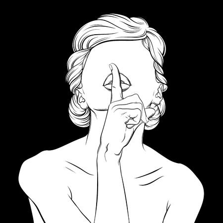 Kreative Vektor-Illustration der Frau in Hand gezeichnet realistischen Stil gemacht. Hipster Hand skizziert Kunstwerk. Vorlage für Visitenkarte Poster Banner Etikettendruck für T-Shirt. Standard-Bild - 78915292