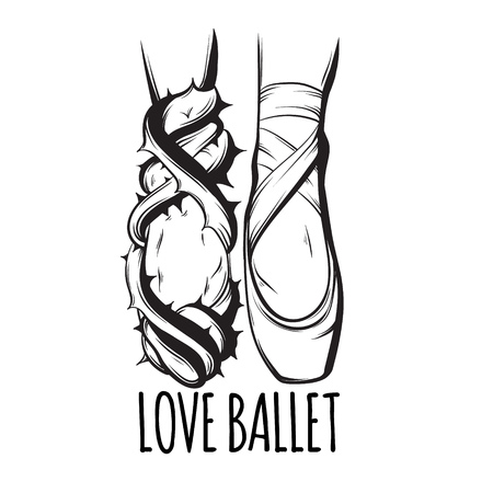 Love ballet. Vector creative illustration of ballerinas  foots in pointe and in ivy with spike made in hand drawn style. Template for card poster banner print for t-shirt. Illustration