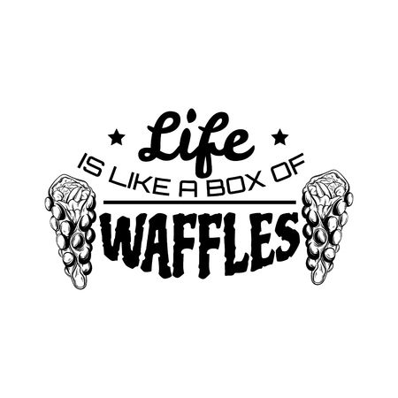 sweetshop: Vector quote typographical background  with illustration of bubble Hong Kong waffles. Template for business card, poster, banner, print for t-shirt.