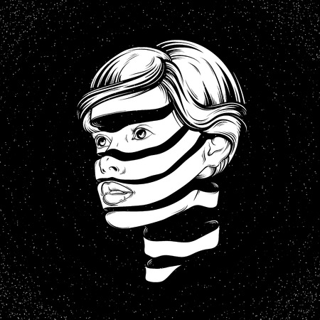 Vector illustration with portrait of young pretty girl with face of the tape. Graphic Noir artwork.  Character design. Template for card, poster, banner, print for t-shirt.
