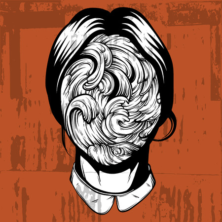 Vector illustration of weird young girl with sea waves instead face made in hand drawn style. Graphic Noir artwork. Character design. Template for card poster banner print for t-shirt.