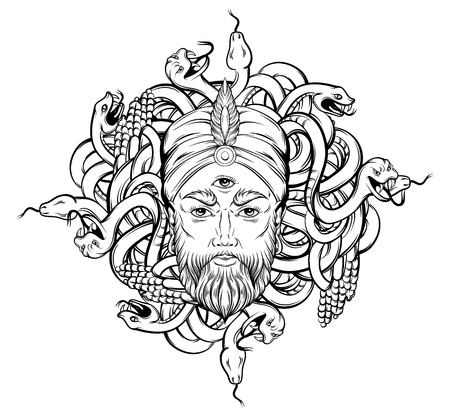 Vector hand drawn illustration of fortune teller with three eyes and bunch of snakes. Hand sketched creative artwork. Template for card poster, banner, print for t-shirt. Tattoo art.