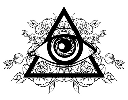 Vector hand sketched illustration. All seeing eye pyramid symbol with flowers. New World Order. Hand drawn Eye of Providence. Alchemy, religion, spirituality, occultism, tattoo art. Template for poster, print for t-shirt.