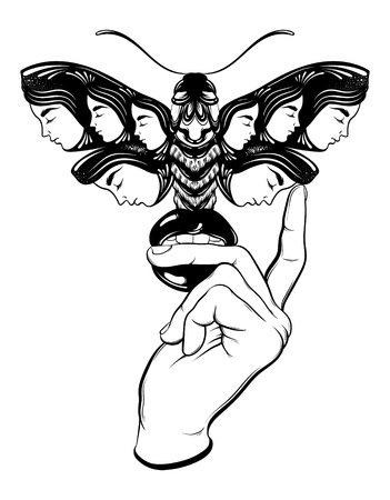 Vector hand drawn illustration of moth with female faces on the wings and woman hand with mouth. Fantasy, occultism, tattoo art. Template for card, poster banner print for t-shirt.