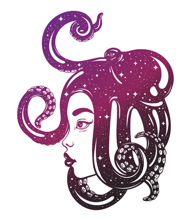 Vector hand drawn illustration of female profile with octopus on her head. Creative artwork. Template for card, poster, banner, print for t-shirt. Illustration