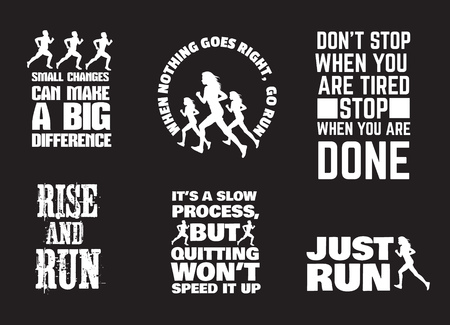 inspiring: Set of quote typographical background with silhouette of running girl and man in realistic style. Vector template for card, poster, banner, print for t-shirt.