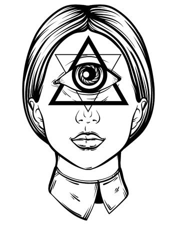 ベクトルは手サイクロプスの描き下ろしイラストです。入れ墨の芸術家のスケッチの手。すべて見る目ピラミッド シンボル。カード、ポスター、バ  イラスト・ベクター素材