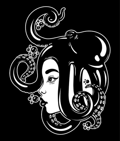 Vector hand drawn illustration of female profile with octopus on her head. Creative artwork with bubbles. Template for card, poster, banner, print for t-shirt. Vettoriali