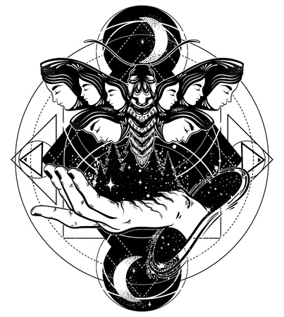 Mano de vector dibujado ilustración de polilla con rostros femeninos en las alas. Fantasía, ocultismo, arte del tatuaje. Plantilla para tarjeta, impresión de banner de cartel para camiseta. Ilustración de vector