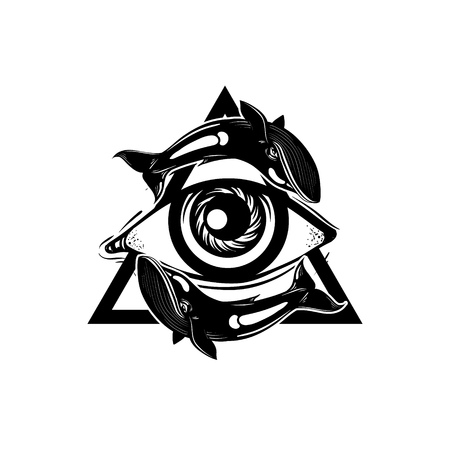 Vector hand sketched illustration. All seeing eye pyramid symbol with whales. New World Order. Hand drawn Eye of Providence. Alchemy, religion, spirituality, occultism, tattoo art. Template for poster, print for t-shirt. Illustration