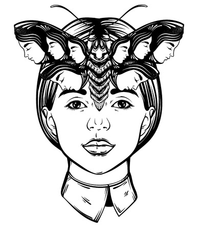 paranormal: Vector hand drawn illustration of moth with female faces on the wings and face of pretty ypung girl.  Tattoo art. Template for card, poster banner print for t-shirt.