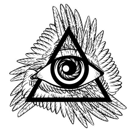 Vector mano esbozo de la ilustración. Todo el símbolo de la pirámide del ojo que ve con las alas. Nuevo orden mundial. Ojo dibujado mano de Providence. Alquimia, religión, espiritualidad, ocultismo, arte del tatuaje. Plantilla para el cartel, impresión para la camiseta.