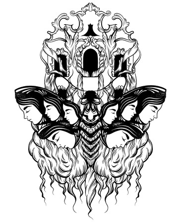 Vector hand drawn illustration of moth with female faces on the wings with flowers.  Tattoo art with baroque facade. Template for card, poster banner print for t-shirt.