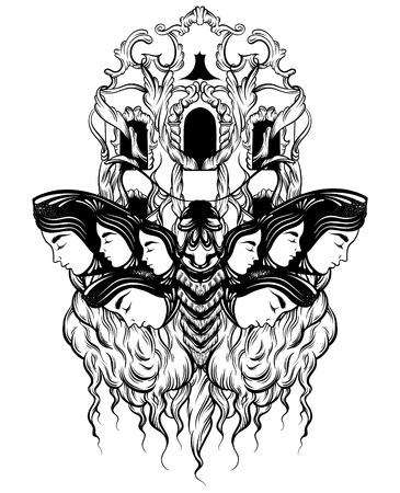 Vector mano dibujada ilustración de polilla con rostros femeninos en las alas con flores. Arte del tatuaje con fachada barroca. Plantilla para tarjeta, impresión de banner de cartel para camiseta.
