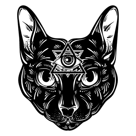 Vector hand drawn ilustration of cat. Character design. All seeing eye pyramid symbol.Egyptian, spirituality, boho design. Template for card, poster, banner, print for t-shirt.