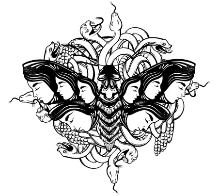 Vector hand drawn illustration of moth with female faces on the wings with flowers and bunch of snakes.  Tattoo art. Template for card, poster banner print for t-shirt.