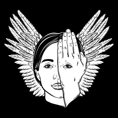 Vector illustration dessinée à la main d'un visage de femme avec des yeux sur sa main et ses ailes. Art graphique surréaliste. Modèle pour carte, affiche, bannière, imprimé pour t-shirt.