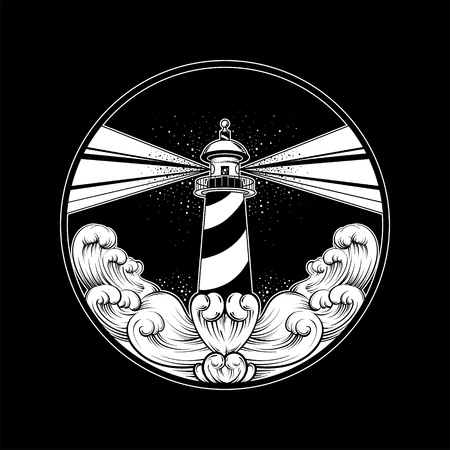 Vector hand drawn illustration of lighthouse with rays and waves. Tattoo artwork. Template for card, poster, banner, print for t-shirt.