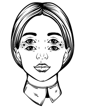 Vector hand drawn illustration of young pretty girl with four eyes. Tattoo hand sketched artwork.  Template for card, poster, banner, print for t-shirt.