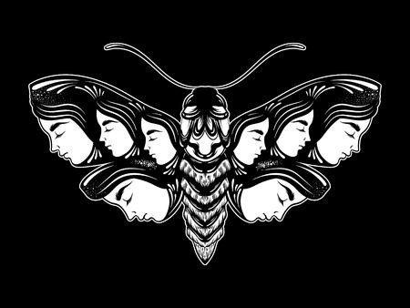 Mano de vector dibujado ilustración de polilla con rostros femeninos en las alas. Fantasía, ocultismo, arte del tatuaje. Plantilla para tarjeta, impresión de banner de cartel para camiseta.