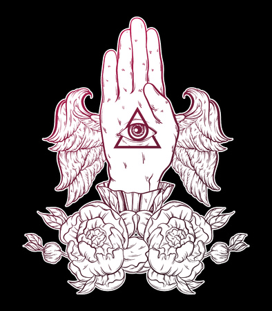 Vector hand drawn illustration of hand of witch with wings.  Tattoo hand sketched artwork with flowers. All seeing eye pyramid symbol. Template for card, poster, banner, print for t-shirt.