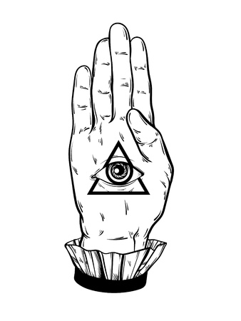 Vector hand drawn illustration of hand of witch. All seeing eye pyramid symbol. Tattoo hand sketched artwork. All seeing eye pyramid symbol. Template for card, poster, banner, print for t-shirt.