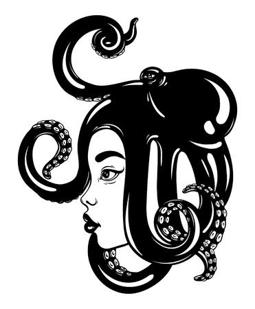 Vector hand getekende illustratie van vrouwelijk profiel met octopus op haar hoofd. Creatief kunstwerk. Sjabloon voor kaart, poster, banner, print voor t-shirt.