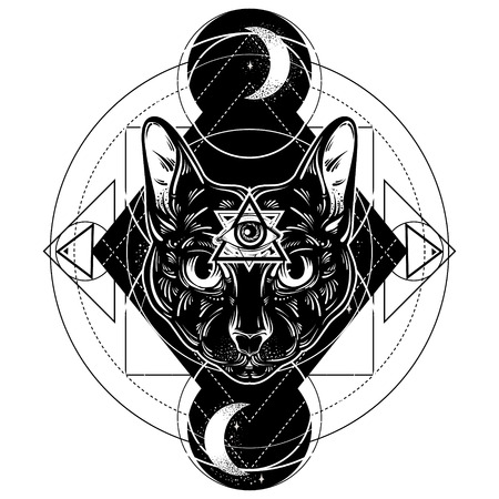 Vector hand drawn ilustration of cat. All seeing eye pyramid symbol. Artwork with portrait of mystical elegant cat.  Template for card, poster, banner, print for t-shirt. Illustration