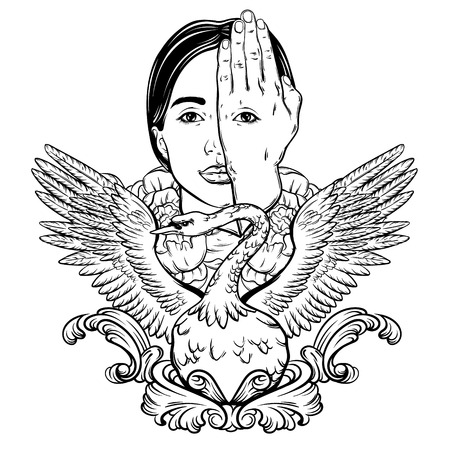 Vector hand drawn illustration of woman face with eye on her hand and swan. Surreal artwork. Template for card, poster, banner, print for t-shirt.