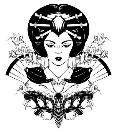 紅茶のカップと日本人のベクトル イラスト。伝統的な服装の若い女性の肖像画。翼の上の女性の頭を持つ蛾の創造的な芸術家の。T シャツの印刷カ  イラスト・ベクター素材