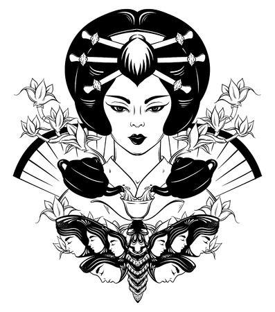 Vector illustration of Japenese with cup of tea. Portrait of young woman in traditional attire. Creative artwork with moth with female heads on the wings. Template for card poster banner print for t-shirt. Illustration