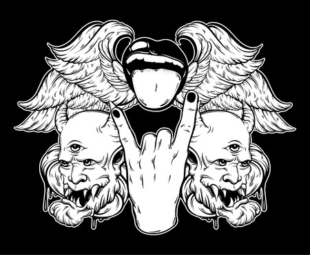 Vector hand drawn illustration of rock hand with mouth and tongue, devil and wings. Tattoo artwork. Template for card, poster, bunner, print for t-shirt.