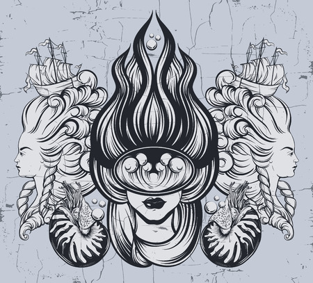 Vector hand drawn illustration  of  female diver with marine waves in the mask . Surreal tattoo artwork with portraits of women and mollusk Nautilus . Template for card, poster, banner, print for t-shirt.