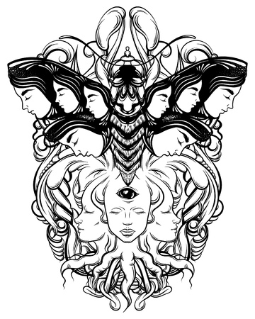 Vector hand drawn illustration of fortune teller with three eyes and moth. Hand sketched creative artwork. Template for card poster, banner, print for t-shirt. Tattoo art.