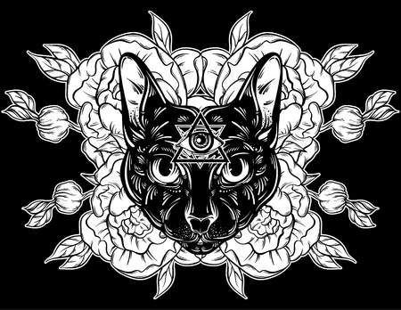 Vector Hand Drawn Illustration Of Cat With Flowers Character