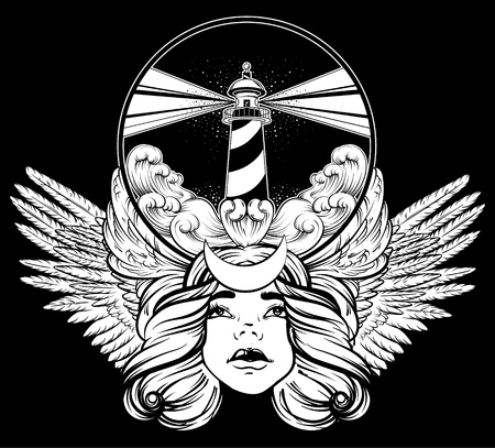 Vector hand drawn illustration of lighthouse with rays and waves. Tattoo artwork with portrait of pretty girl and wings. Template for card, poster, banner, print for t-shirt. Illustration