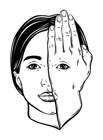 Vector hand drawn illustration of woman face with eye on her hand. Surreal artwork. Template for card, poster, banner, print for t-shirt.