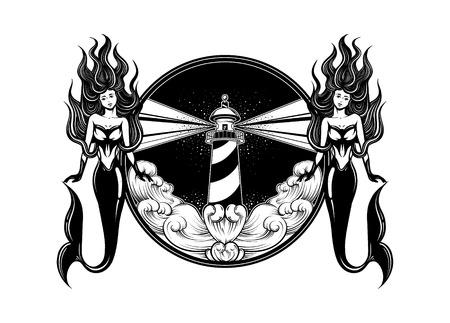 Dramatic: Vector hand drawn illustration of lighthouse with rays and waves. Tattoo artwork with mermaids. Template for card, poster, banner, print for t-shirt.